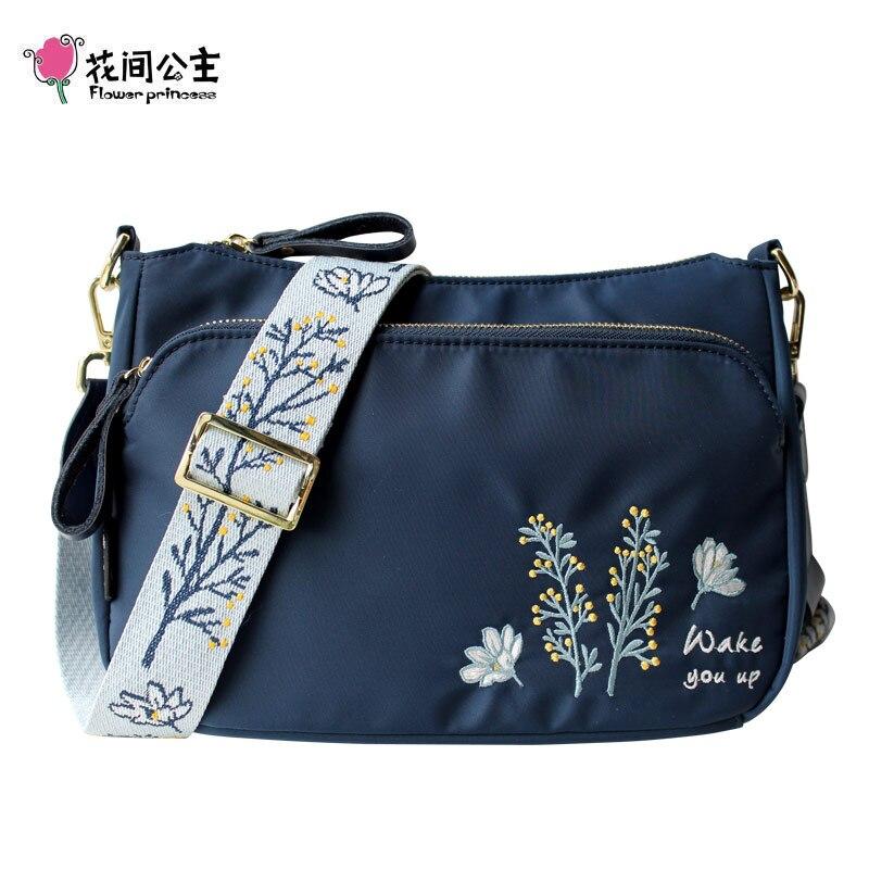 Fleur Princesse Broderie Large Sangle Bandoulière Sacs pour Femmes 2019 Nylon sac à bandoulière Femmes sac de messager de sac décontracté tendance