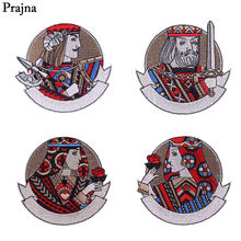 Prajña Indische Stijl Geborduurde Patches Poker Koningin Koning Iron Op Patch Logo Rose Zwaard Badges Punk Stickers Op Jas Ornamenten(China)
