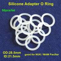 50pcs Food Grade Silicone Clear O Rings Silicone Dummy MAM Pacifier Clips Adapter