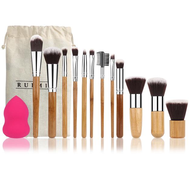 RUIMIO 12 UNIDS Asa De Bambú Profesional Fundación Blending Blush sombra de Ojos Face Makeup Brushes Set 1 Blender Esponja Puff