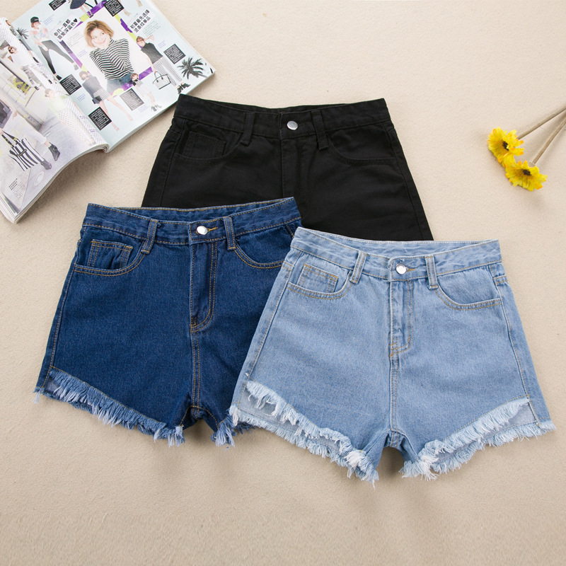 Summer Retro denim shorts female wild Punk tassels  loose short female thin curling fashion lager size short jeans women S2073
