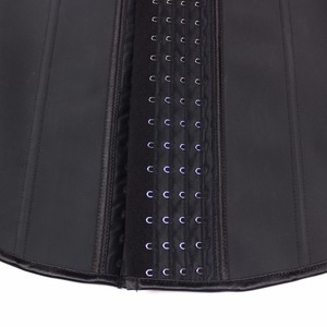 Image 5 - YUMDO 100% ラテックスウエストトレーナーベストコルセット 4 行フック女性ボディシェイパー 9 スチールボーンウエストウエストニッパーボディニッパー Fajas 黒 6XL