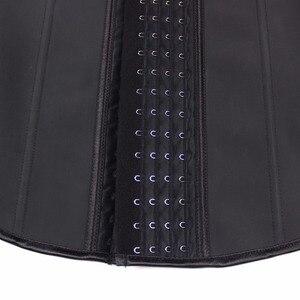 Image 5 - YUMDO 100% לטקס מותניים מאמן אפוד מחוך 4 שורות וו נשים גוף Shaper 9 פלדת עצמות מותן Cincher Shapewear Fajas שחור 6XL