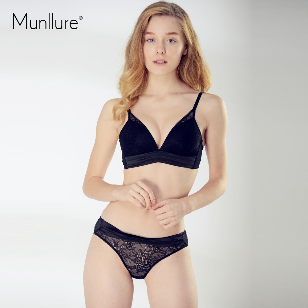76c23b8ede Munllure Elegant Embroidery Sexy Lace Thin Cup Ladies Bra Set Comfortable  Silk Push Up Underwear 2018 New