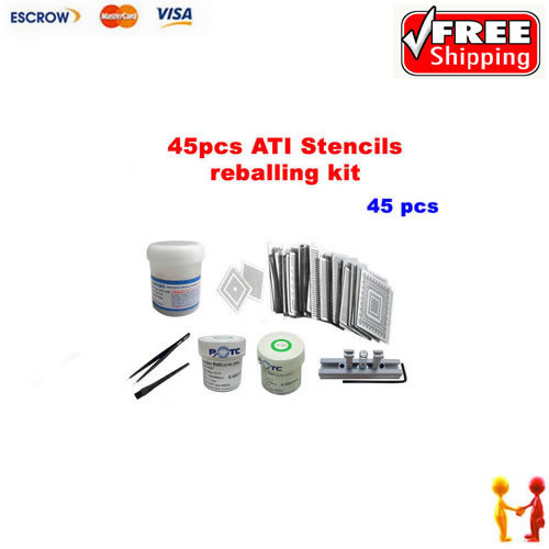Direct Heat Stencils ATI Video chips 45pcs leaded solder ball 0.5 0.6mm ESD tweezer brush solder flux stencils holder