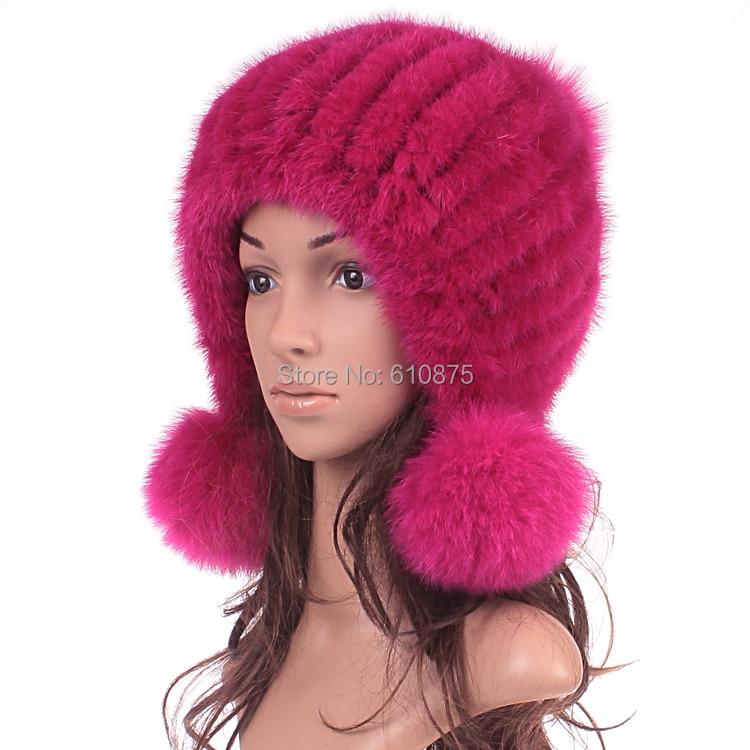 Женское зима норка утолщение мех шляпа женщина тёплый трикотаж кожи strawhat шляп мех норки шляпа R96