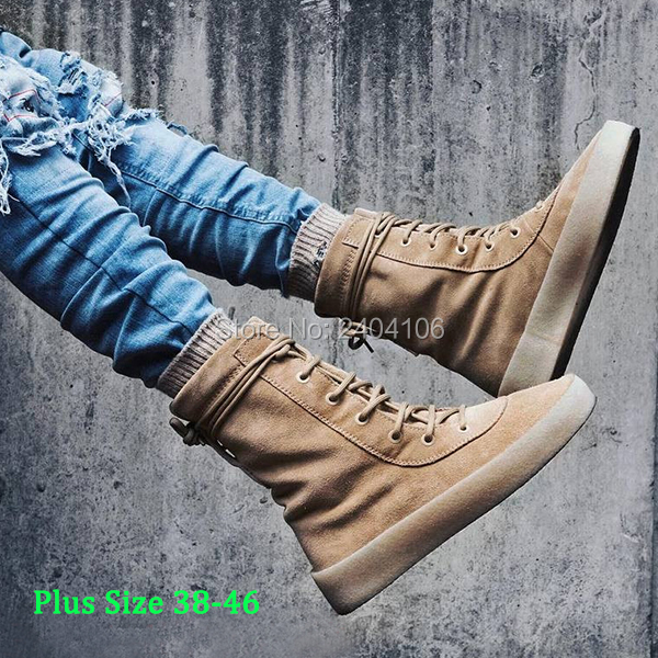 Shooegle Plus Size Celebrity Kanye Ankle Booties Casual Shoes Botas Hombre Lace Up Flat Platform Military Crepe Army Boots Men