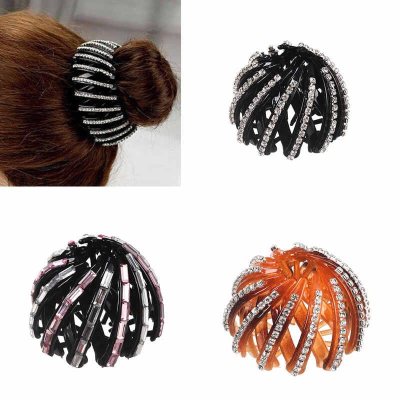 M MISM Crystal Ponytail Holder Rhinestone hair Crab Womens Hairstyles Hair  Claws Girl Bird Nest Updo ae8a0ef10440