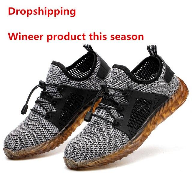 Dropshipping Erkekler Ve Kadınlar Çelik Ayak Hava Güvenlik Botları Yıkılmaz Ryder Ayakkabı ışık Çalışma Sneakers Nefes Ayakkabı