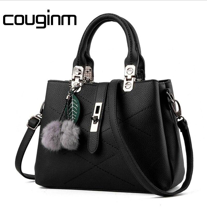 COUGINM Women Female Briefcase Shoulder Bag OL PU Leather Pompon Pendant Handbag Messenger Casual Crossbody Bags Satchel Tote