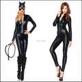 Hot Selling Cat Costume With Mask Sexy Laex Cat Suit Shiny Party Fashion Girl Lady Unique Wear Cat Women Costume Free Shipping