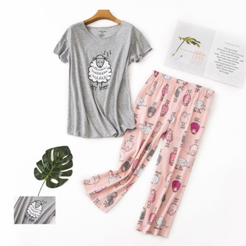 100% Cotton Pajamas Set Short Sleeve T-shirt Long Pants 2Piece/Set Sexy Summer Pyjama Big Size Mom Home Sleepwear
