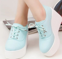 Canvas Wedged Shoes Autumn Platform Shoes Women' Casual Low-Top Lacing Up