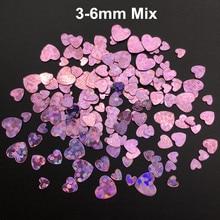 3 4 6 мм микс сердце ПВХ свободные блестки для маникюра ногтей, свадебные конфетти, аксессуары для орнамента/рукоделия