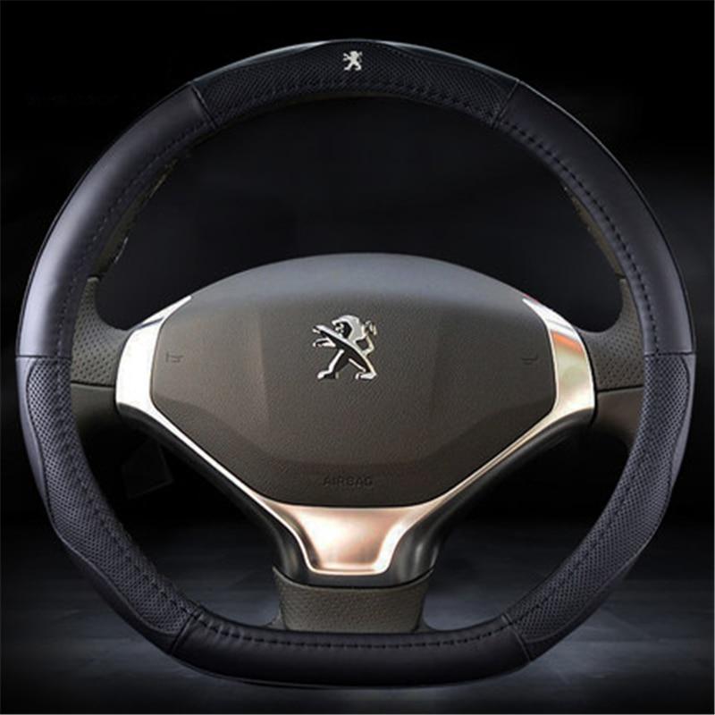 HEIßER VERKAUF Echtem leder Auto Lenkrad Deckt Fit für Peugeot 408/307/308 s/3008/ 301/508