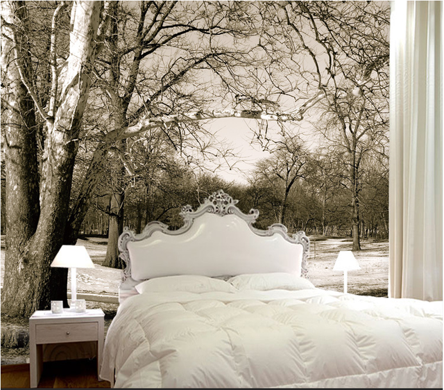 Large 3d stereo wallpaper black and white nature forest for Black and white tree wallpaper mural