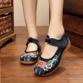 Chinese New Arrive Women Canvas Flats Sunflower embroidery shoes Oxford embroidered canvas soft single flat shoes plus size 41