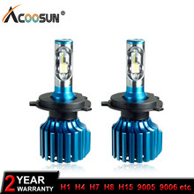 AcooSun 12V 24V H7 Led Car Lights H4 LED Headlight Bulb All in One H11 H1 H3 9005 9006 9012 72W 10000LM H15 High Low Beam Light(China)