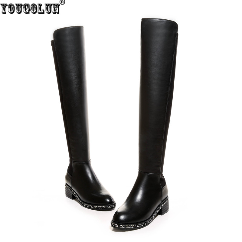 YOUGOLUN Sexy Stretch soft genuine leather thigh high boots women knee high boots autumn winter woman chains shoes ladies boots yougolun ladies fashion thigh high over the knee boots woman autumn winter womens female sexy nubuck suede leather women shoes