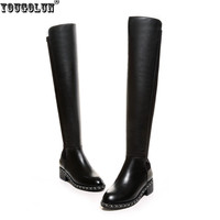 Sexy Stretch Buckle Soft Genuine Leather Women Riding Knee Thigh High Boots Autumn Winter Woman Chains