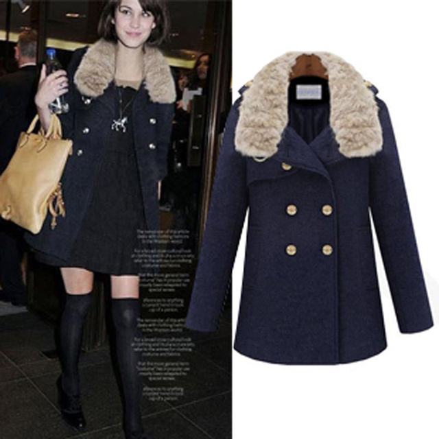 Free shipping 2013 autumn/winter fashion design double breasted women's woolen outerwear large fur collar wool coat