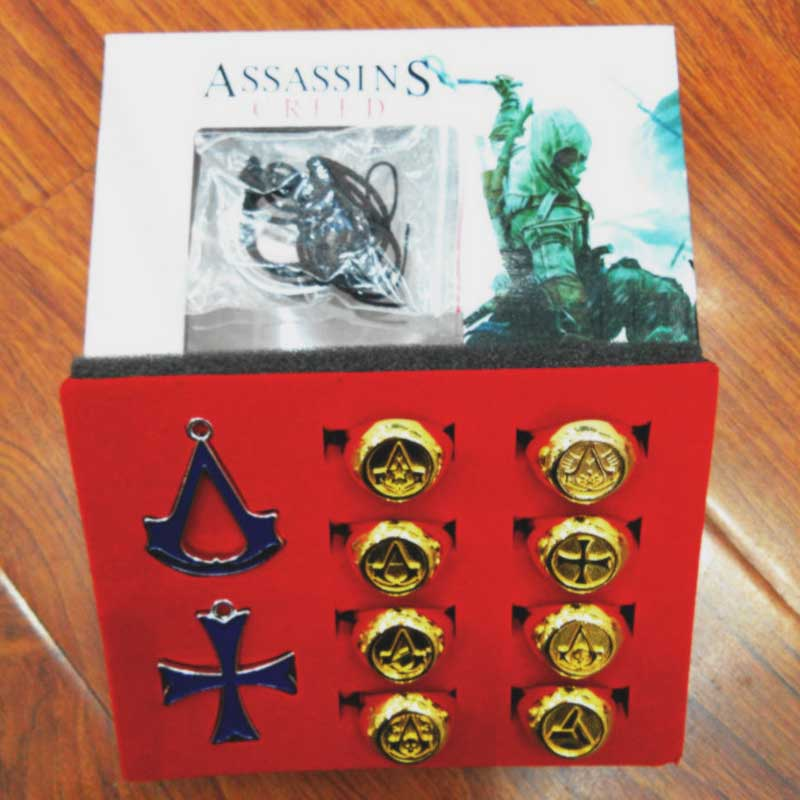 Jewelry Cosplay Assassins Creed-Syndicate Necklace Key-Chain-Rings The with Beautiful-Box
