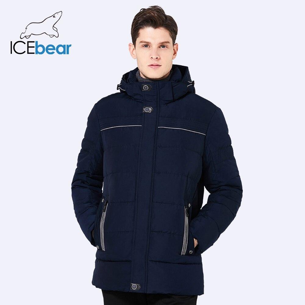 ICEbear 2017 короткий стенд Куртка с воротником для Для мужчин зимние толстые Повседневное мужской хлопок пальто резьбовые манжеты ветрозащитны...