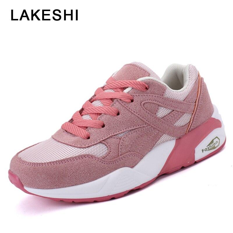 LAKESHI Лето Для женщин вулканическая обувь дышащие модные женские туфли кроссовки Сетка женские ботинки на шнуровке ...