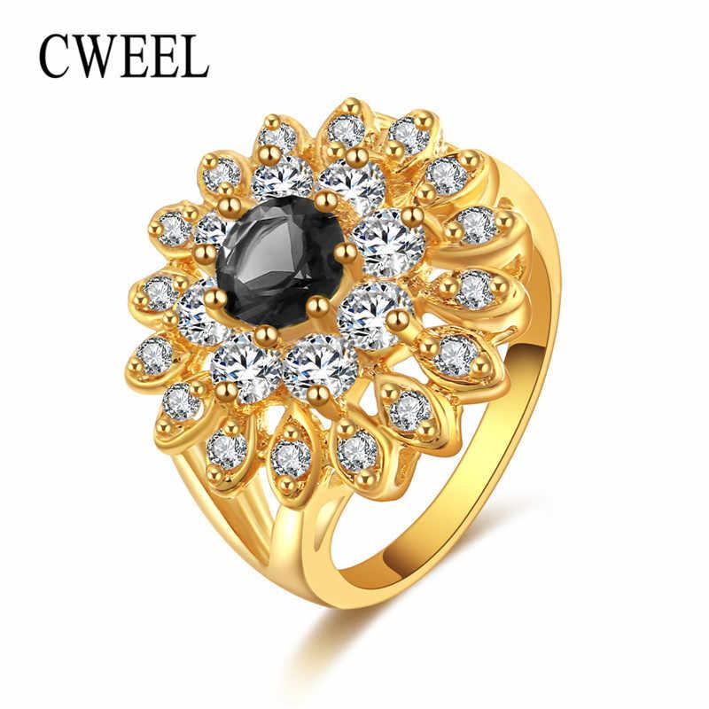 CWEEL, винтажное турецкое кольцо для женщин, Кристальные кольца для крупных пальцев, свадебные массивные кольца с кубическим цирконием, золотой цвет, оптовая продажа