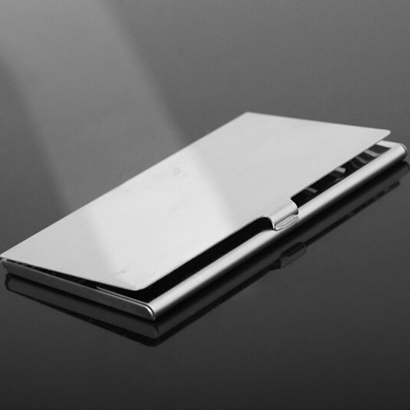 1 pc Waterproof Business Card Storage Box Aluminum Metal Business ID ...