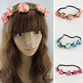 Hot!!! Handmade Flower Crown Headband Forehead Headbands For Girls Bohemian Style Wreath Wedding Bridal Headwear Garland