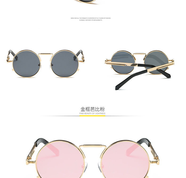 368d925c2 Mirror Rose Gold Steampunk Sunglasses Luxury Brand Sun Glasses For Women  Pink Round Girls Shades Ladies Eyewear sonnenbrille