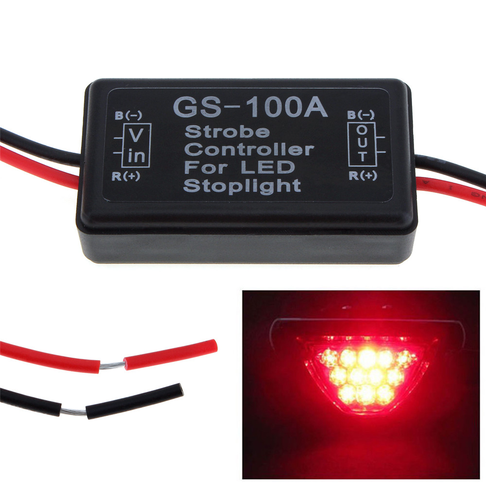 HOT Waterproof GS-100A LED Brake Stop Light Lamp Flash Strobe Controller Flasher Module for Vehicle