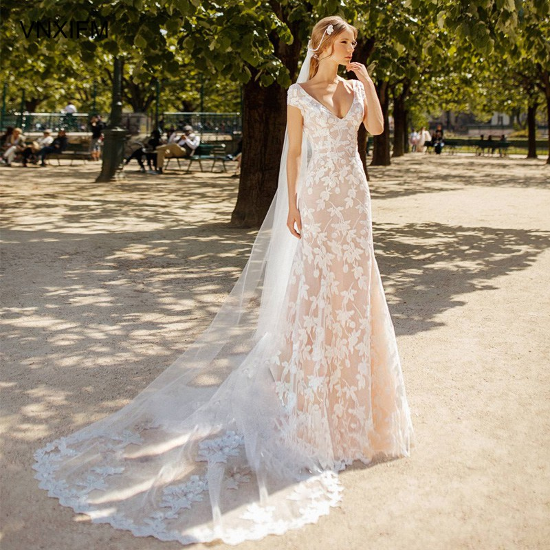 Real Retro Weddings: VNXIFM 2019 New Real Picture Lace Bohemian Wedding Dresses