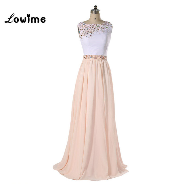 Long Elegant White Champagne Prom Dress For Graduation With Stones ...