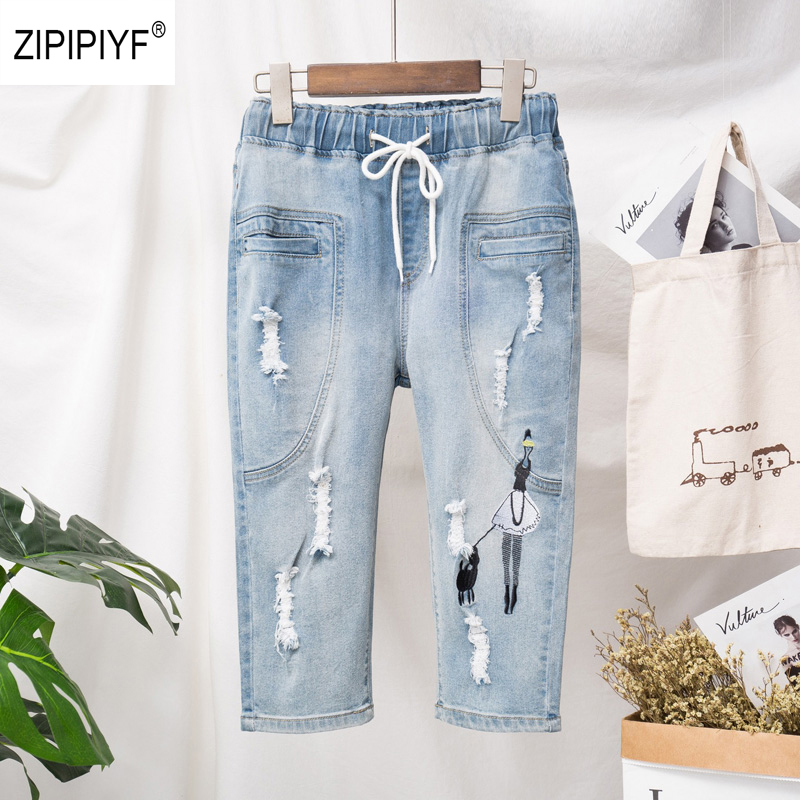 Casual Fresh printing Jeans for Women Washed Denim Jeans Femme Elastic Waist Wrap Jeans Mujer 2019