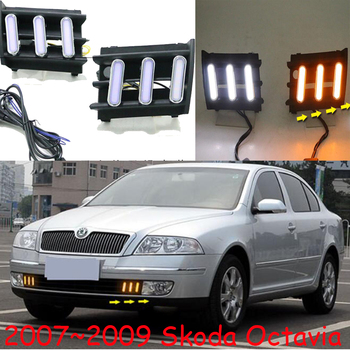 Video2007~2009 Octavia daytime Light,car accessories,Octavia fog light,LED,Octavia headlight,superb,rapid,yeti,Octavia taillight фото