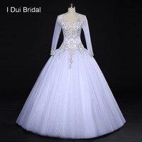 שרוול ארוך כדור שמלת חתונת שמלות יוקרה חרוזים Appliqued V צוואר חשוף גב סקסי כלה שמלה מותאמת אישית לעשות גדולה חצאית