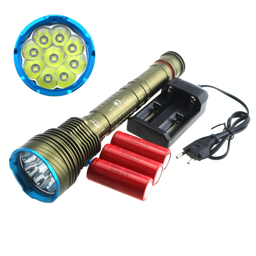 Waterproof 200M Underwater 9XCREE XM-L2 LED Diving Flashlight Torch Lantern 18000 Lumens + Rechargeable 26650 Battery & Charger new high quality x1 2000 lumens cree xm l2 led diving flashlight torch 100m underwater waterproof 26650 battery charger
