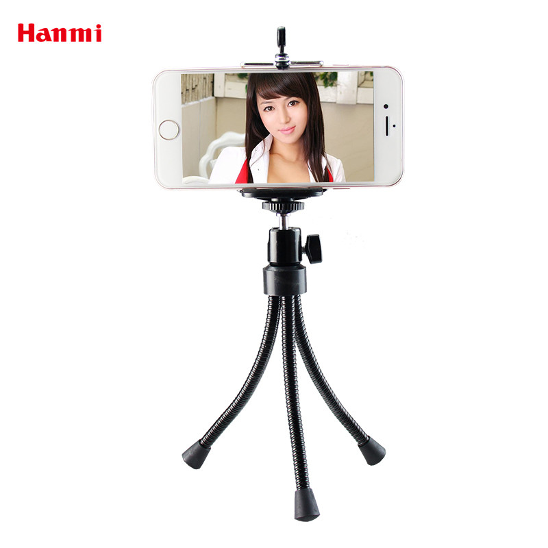 Hanmi 360 Graus De Metal Titular Tripé Universal Tripé Para Câmera do Smartphone Telefone Móvel Mini Tripé Flexível Tripé Fishlight