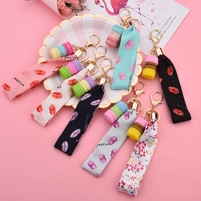 Women Cake Keychain Letter Ribbon Hand Rope Pendant Car Key Chain Party Gift Key Ring Jewelry Best   K2278