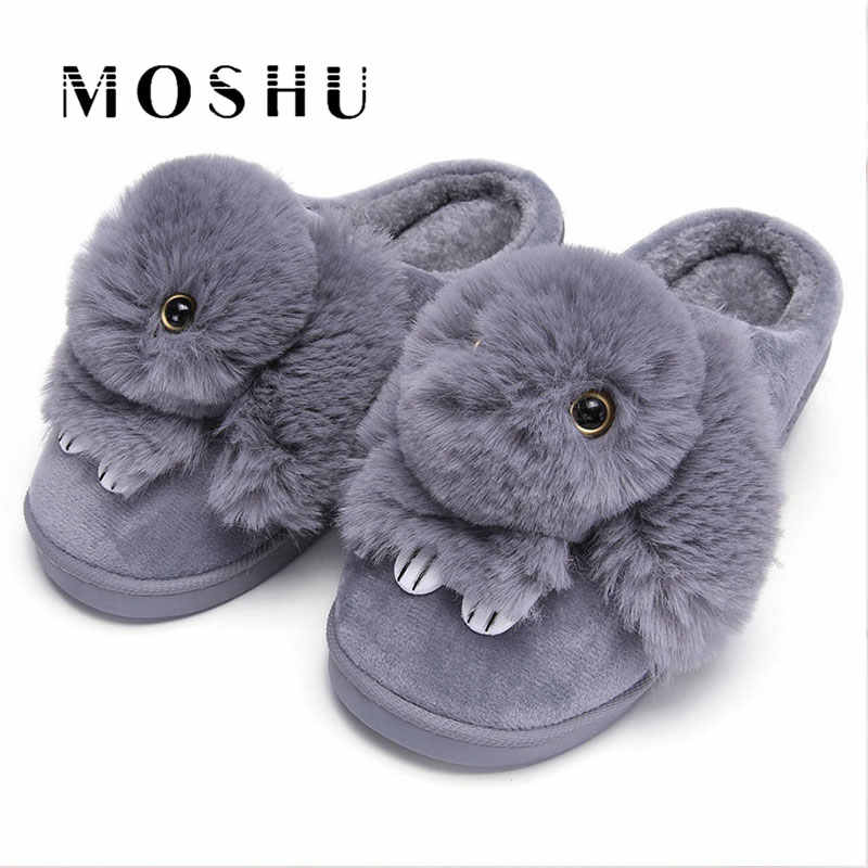 Women Winter Home Slippers Ladies Rabbit Animal Prints Fur Warm Slides Indoor Soft Casual Shoes for Women Sandals Plus Size