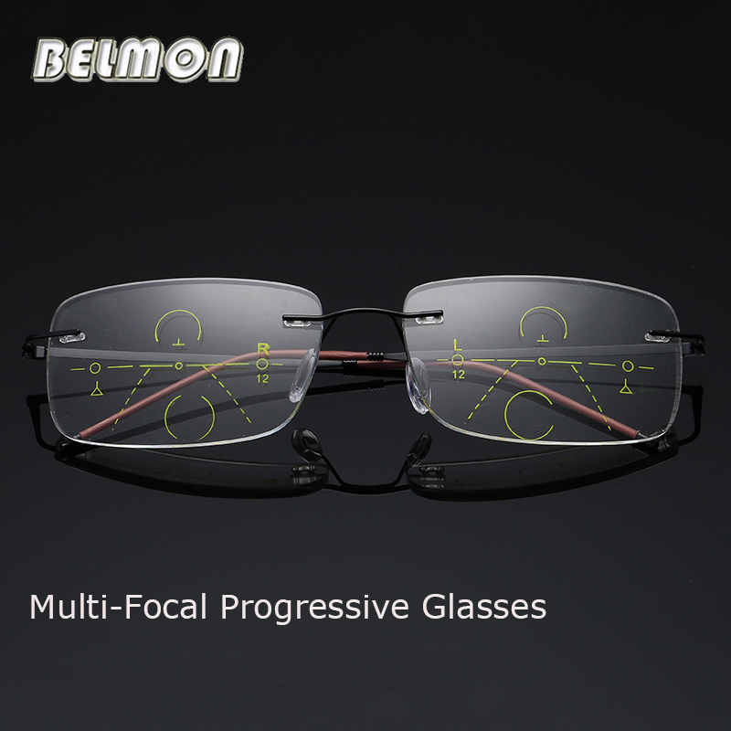 7349f58eab4 Detail Feedback Questions about Belmon Multi Focal Progressive Reading  Glasses Men Women Rimless Presbyopic Male Diopter Eyeglasses  +1.0+1.5+2.0+2.5+3.0 ...