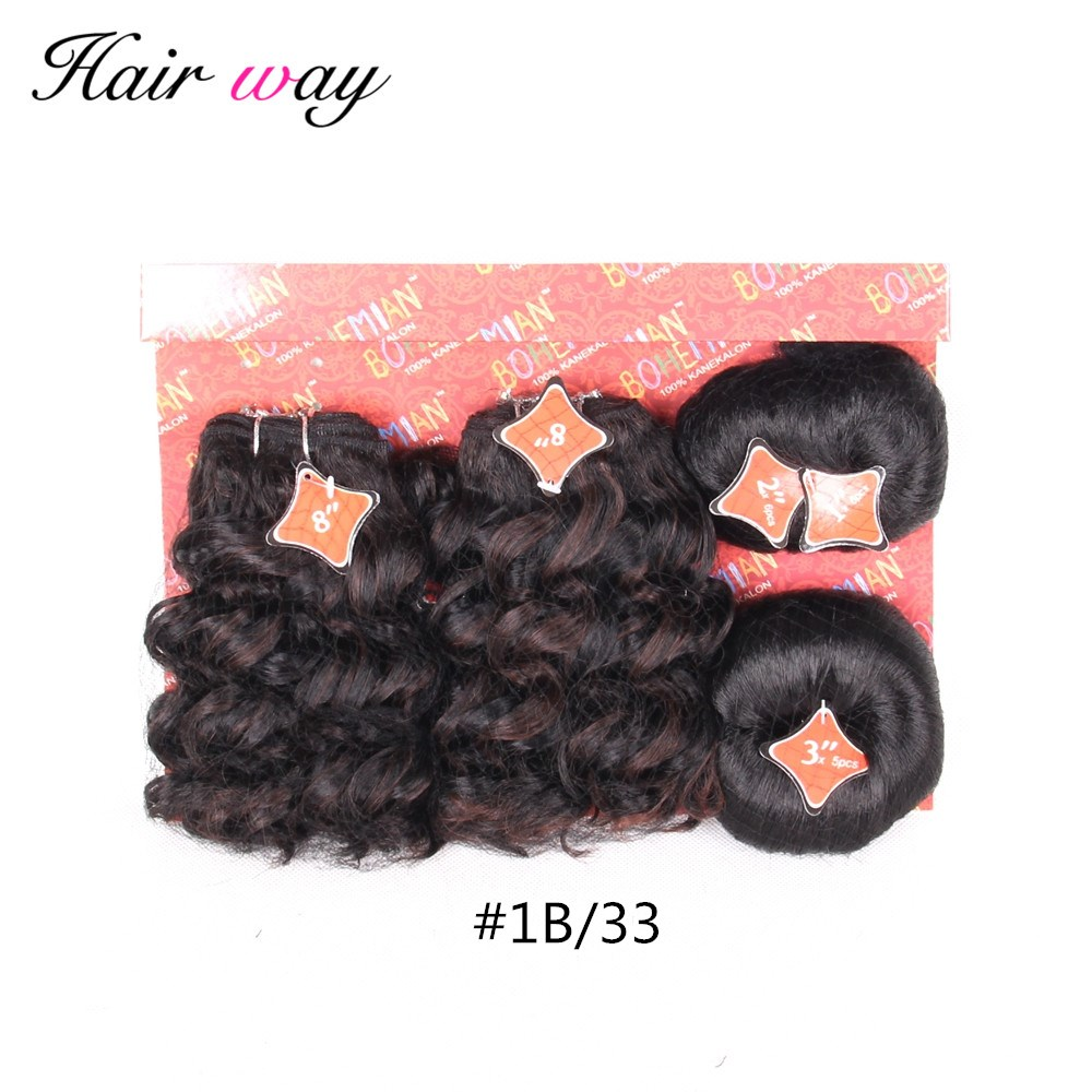 Hair Way Ombre color Kanekalon Synthetic Hair 8 Inch 20 pcs / Pack Hair Machine Seam Double Weft Can Make A Full Head