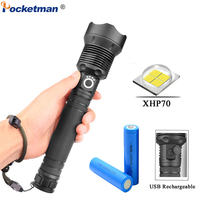 Powerful LED Flashlight Torch USB Rechargeable Flashlight XHP70 40W Zoomable Tactical defense flashligh For Camping