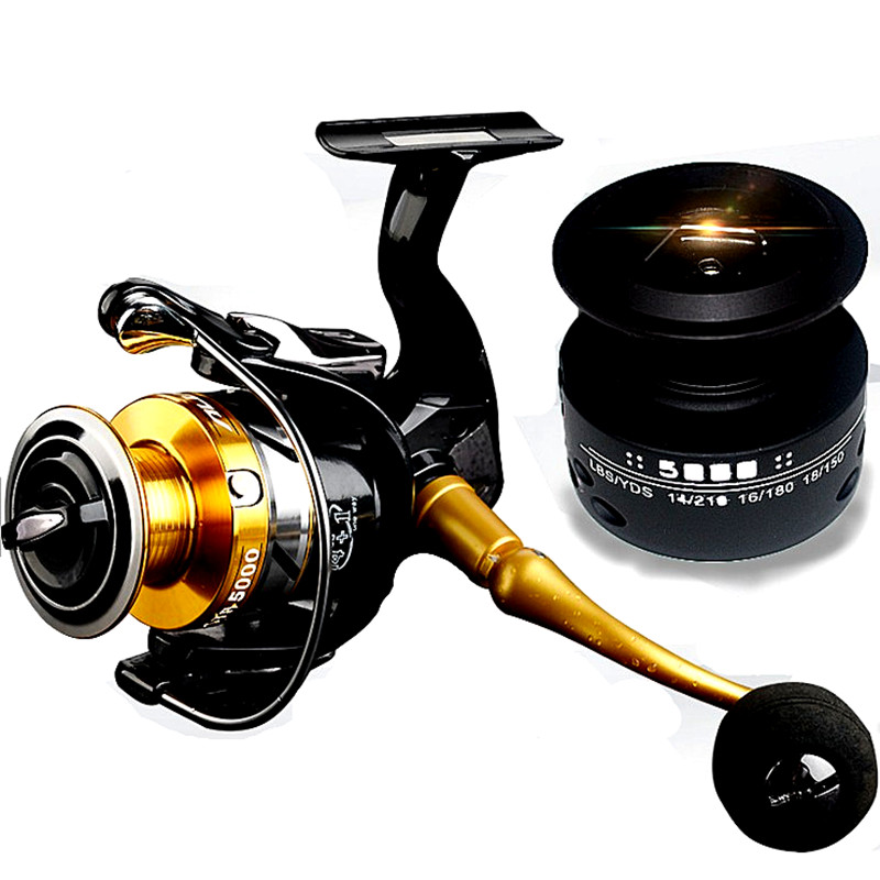 KKWEZVA Metal Fishing Reel Coil Sea Spinning Reels Deep and Deep Spool 2000 Series 5.5: 1 4BB and Give a spare line cup