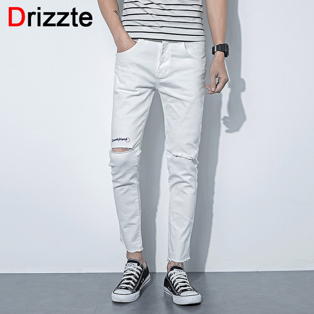Drizzte Mens White Denim Ankle Jeans Stretch Black Ripped Skinny Jeans  Distressed UK Korea Style 0e8462b92