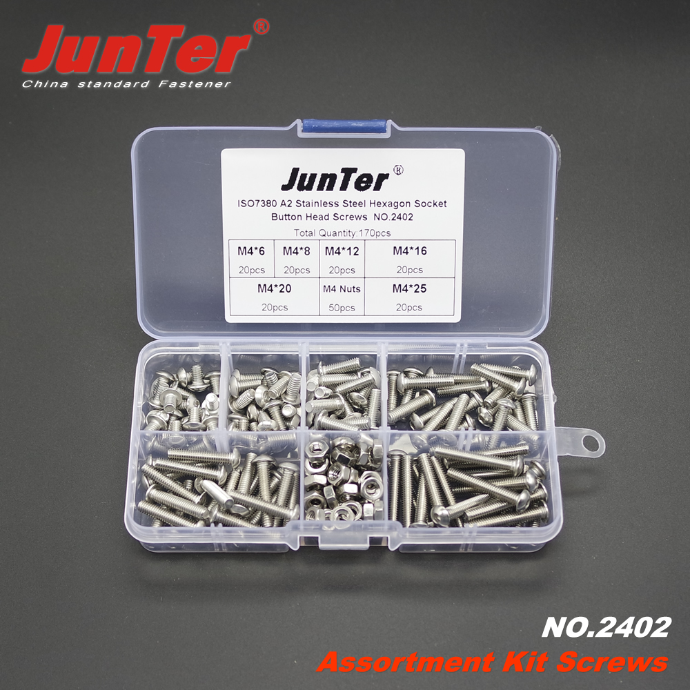 170pcs M4 (4mm)  A2 Stainless Steel ISO7380 Button Head Allen Bolts Hexagon Socket Screws With Nuts Assortment Kit NO.2402 m3 m4 m5 steel head screws bolts nuts hex socket head cap and nuts assortment button head allen bolts hexagon socket screws kit