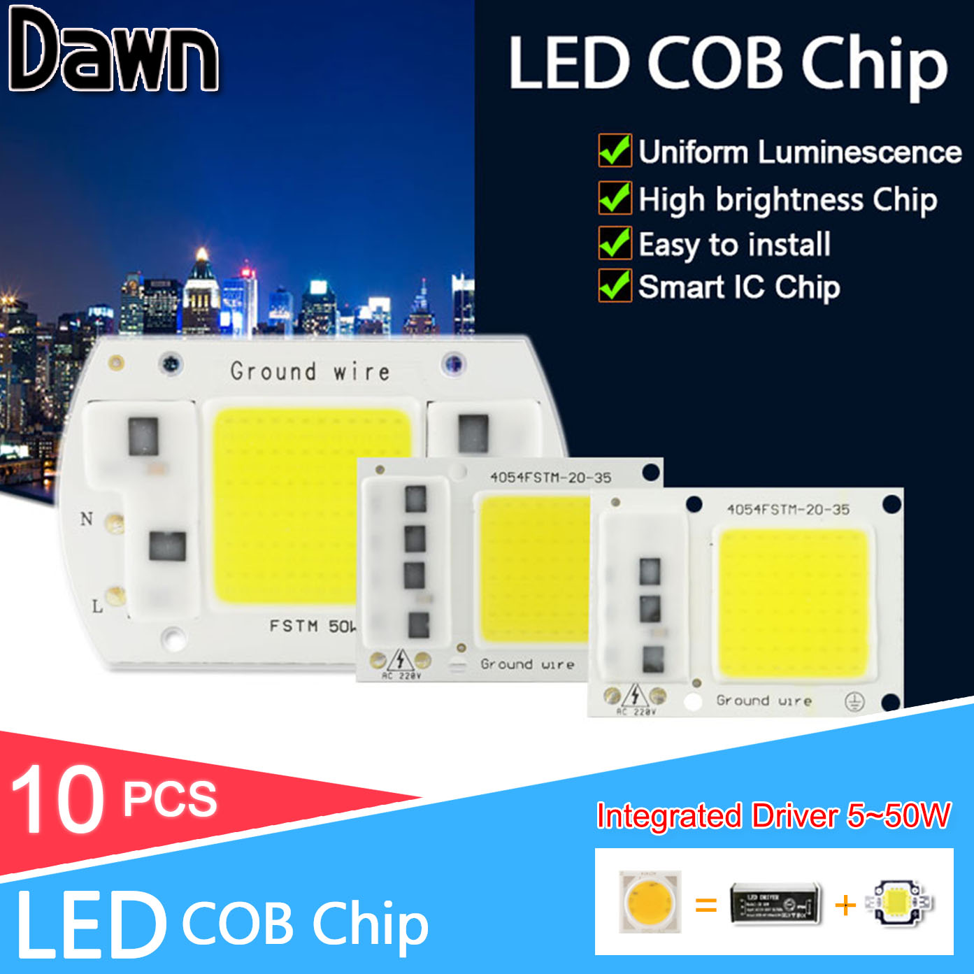 10Pcs High Lumens DIY 220V Integrated COB LED Chip 5W 10W 20W 30W 50W LED Lamp Smart IC For LED Floodlight Flood Light Spotlight ynl cob led lamp bulb 50w 30w 20w 220v input led chip smart ic fit no driver high lumens for diy led flood light spotlight