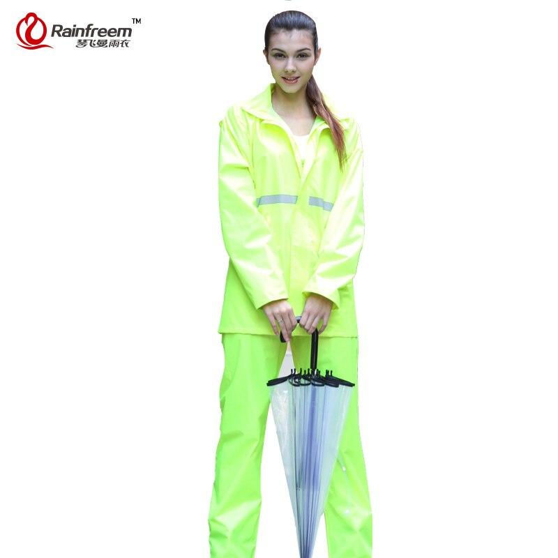 Rainfreem doble capa impermeable impermeable mujeres/hombres trajes de capa de lluvia al aire libre de las mujeres ropa de lluvia poncho impermeable de la motocicleta